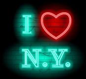 Kocham NY list dla projekta i dekoraci Neonowa stylu znaka ilustracja Ilustracja dla t koszulowego druku lub ściany dekoraci Obraz Stock