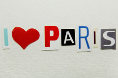 Kocham Paris znaka Obrazy Stock