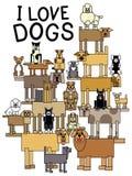 Kocham psy royalty ilustracja