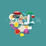 Kocham Włochy pojęcia wektorową ilustrację, projekta element Obraz Royalty Free