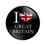 Kocham Wielkiego Brytania guzika Fotografia Royalty Free