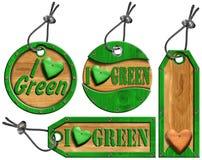 Kocham Zielone Drewniane etykietki - 4 rzeczy Zdjęcie Royalty Free