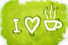Kocham zielonej herbaty Obrazy Stock