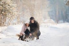 Kochanek para chodzi w śniegu z psem zdjęcie stock