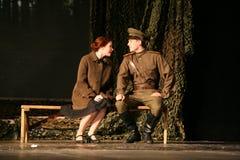 Kochanka spotkanie Rosyjski żołnierz i jego dziewczyna Portret Rosyjski żołnierz Obraz Stock