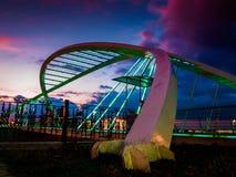 Kochankowie Przerzucają most W Miękkim wieczór Obraz Stock