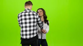 Kochankowie spotykają, łączą, ręki i wir, całuje, ściska, zielony ekran zbiory wideo