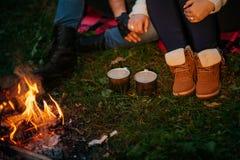Kochankowie wokoło ogniska przy nocą Zdjęcie Royalty Free