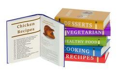 Kochbücher lokalisiert auf weißem Hintergrund Stockfotos