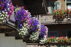Balcony flowers on a house in Kochel, Bavaria. Kochel am See, Kochelsee, Balcony Flowers at a Farmhouse, Bavaria, Upper Bavaria, Germany, Europe Royalty Free Stock Image
