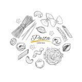 Kochen der italienischen Teigwarenschablone Verschiedene Typen von Teigwaren Vektorhand gezeichnete Abbildung vektor abbildung