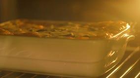 Kochen der Lasagne im Ofen stock video