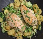 Kochen des Estragon-Huhns in der Wanne Lizenzfreies Stockfoto