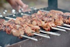 Kochen des Fleisches über den Kohlen Stockfotografie