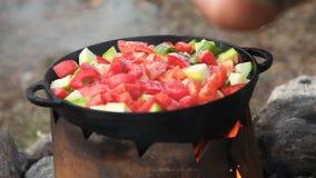 Kochen des Gemüses im Großen Kessel draußen stock video