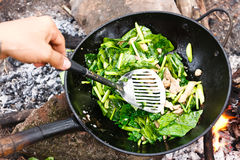 Kochen des Gemüses und des Fleisches in der Wokwanne Lizenzfreie Stockbilder