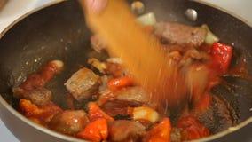 Kochen des Gulaschrindereintopfs mit Gemüse in einer Wanne stock video