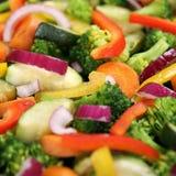 Kochen des Lebensmittelgemüsehintergrundes in der Wanne Stockbild