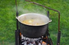 Kochen des Lebensmittels in einem Topf auf Lagerfeuer Kampierendes Konzept des Sommers stockbild