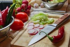Kochen des Lebensmittels mit Frischgemüse Lizenzfreies Stockbild
