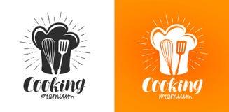 Kochen des Logos oder des Aufklebers Küche, Küchenikone Beschriftungs-Vektorillustration vektor abbildung