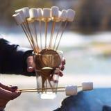 Kochen des Nachtischs mit Eibischen durch das Feuer an einem Picknick in der Natur stockbilder
