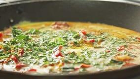 Kochen des Omeletts stock video footage