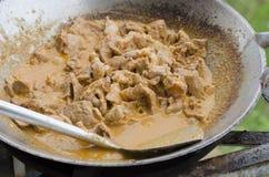 Kochen des Schweinefleischcurrys Lizenzfreie Stockbilder