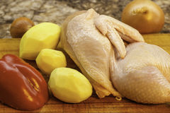 Kochen eines Gerichtes mit Huhn Lizenzfreie Stockfotografie