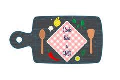 Kochen im Draufsichtfahnentextraum der Küche Stockfoto
