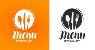 Kochen, Küchelogo Ikone und Aufkleber für Designmenürestaurant oder -café Beschriftung, Kalligraphievektorillustration vektor abbildung