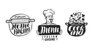 Kochen, Küchelogo Ikone und Aufkleber für Designmenürestaurant oder -café Handgeschriebene Beschriftung, Kalligraphievektor stock abbildung