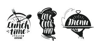 Kochen, Küchelogo Stellen Sie Ikonen und Symbole für Designmenürestaurant oder -café ein stock abbildung
