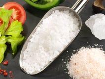 Kochen mit Seesalz - gesunde Nahrung stockfotos