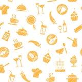 Kochen, nahtloses Muster, Weiß, Orange, Vektor Lizenzfreie Stockbilder
