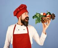 Kochen Sie mit fröhlichem Gesicht in Burgunder-Uniform hält Gemüse stockfotografie