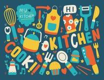 Kochen und Küchenhintergrund Stockbilder