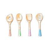 Kochen von den Werkzeugen, die durch Aquarellillustration malen; zusätzliches Konzept des Entwurfes des Lebensmittels Stockbild