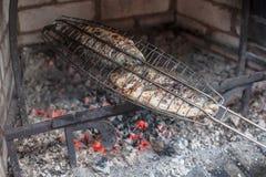 Kochen von Fischen auf einem Grill Lizenzfreie Stockbilder