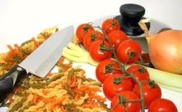 Kochen von Gemüseteigwaren Stockbild