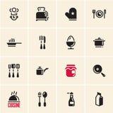 Kochen von Ikonen cuisine teller lizenzfreie abbildung