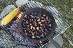 Kochen von Kastanien und von Maiskolben auf dem Feuer stockfotografie