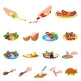 Kochen von Lebensmittelkarikaturikonen in der Satzsammlung für Design Küche, Ausrüstung und Werkzeuge vector Netz des Symbols auf Stockfoto