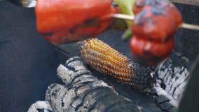 Kochen von Mais auf Feuer stock video footage