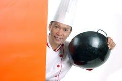 Kochende Geräte der Chefholding Stockbild