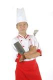 Kochende Geräte der Chefholding Stockfoto