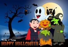 Kochende Hexe, Dracula, Herr Kürbis und Geist unter Vollmond-Vektor-Illustration für glückliches Halloween Stockfotos