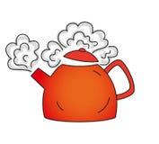 Kochende rote Teekanne Stockfoto