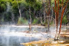 Kochender heißer vulkanischer See mit den toten Zweigen, die aus dem Wasser heraus haften lizenzfreie stockfotos