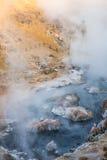 Kochender vulkanischer heißer Nebenfluss-geologischer Standort nahe Mammutseen auf einem Winter-Morgen lizenzfreie stockbilder